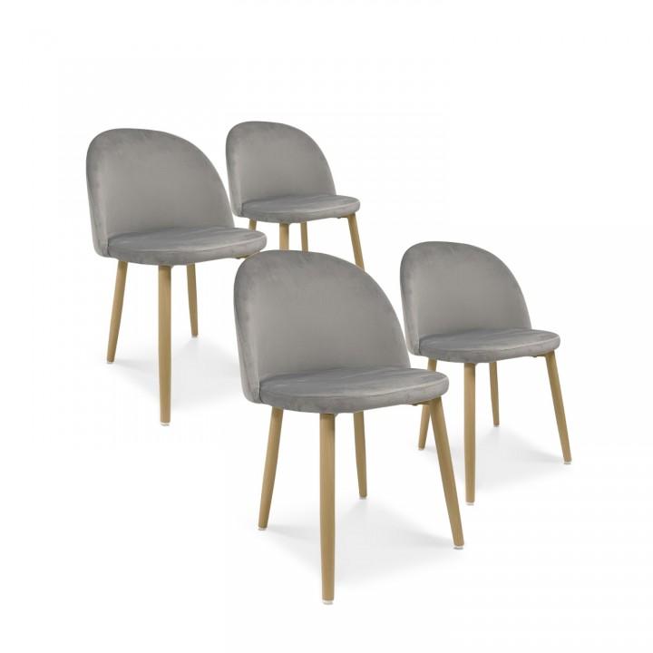 Lot de 4 chaises style scandinave Agathe velours Gris