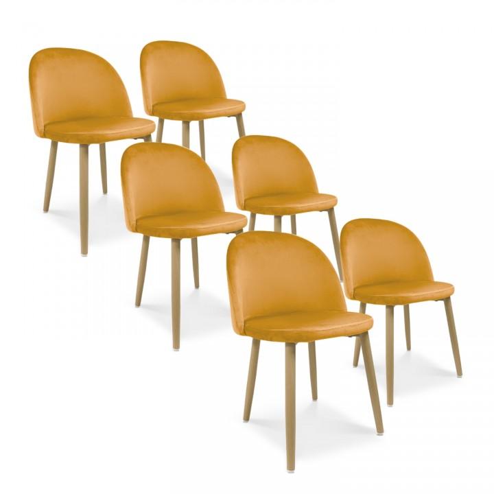 Lot de 6 chaises style scandinave Agathe velours Jaune