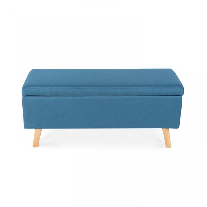 Banquette coffre de style scandinave Eline tissu bleu canard