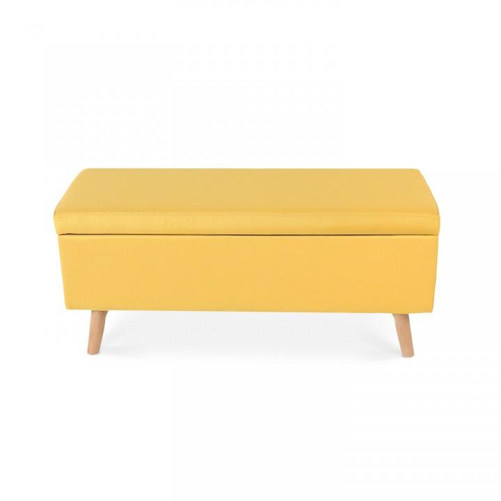 Banquette coffre de style scandinave Eline tissu jaune