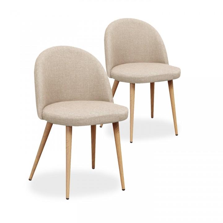 Lot de 2 chaises scandinaves Cecilia tissu Beige