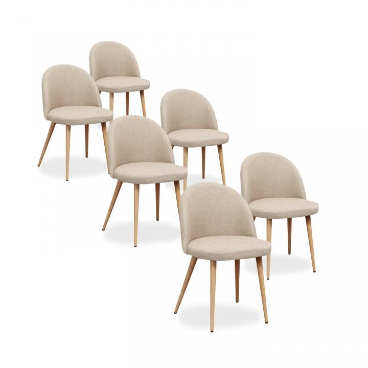 Lot de 6 chaises scandinaves Cecilia tissu Beige
