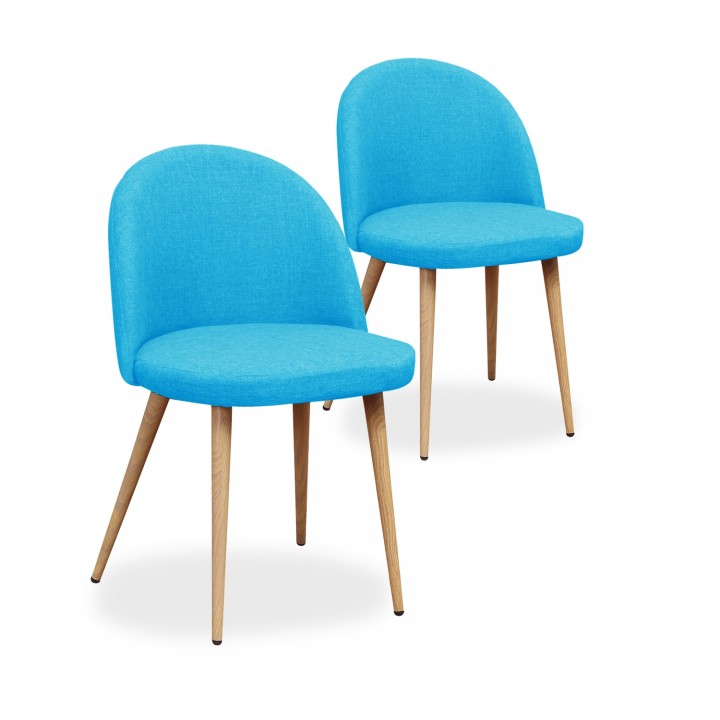 Lot de 2 chaises scandinaves Cecilia tissu Bleu