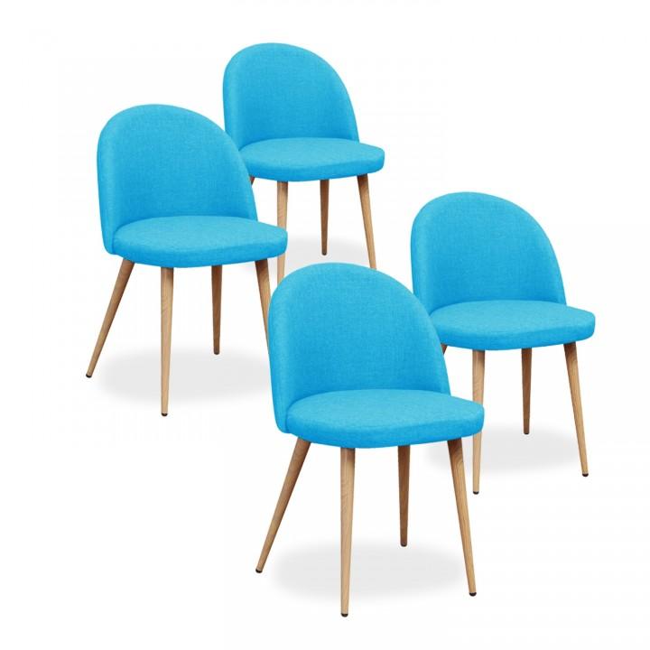 Lot de 4 chaises scandinaves Cecilia tissu Bleu