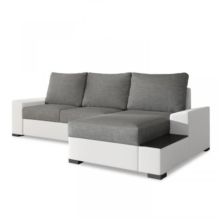 Canapé d'angle droit convertible Gianni Gris et Blanc