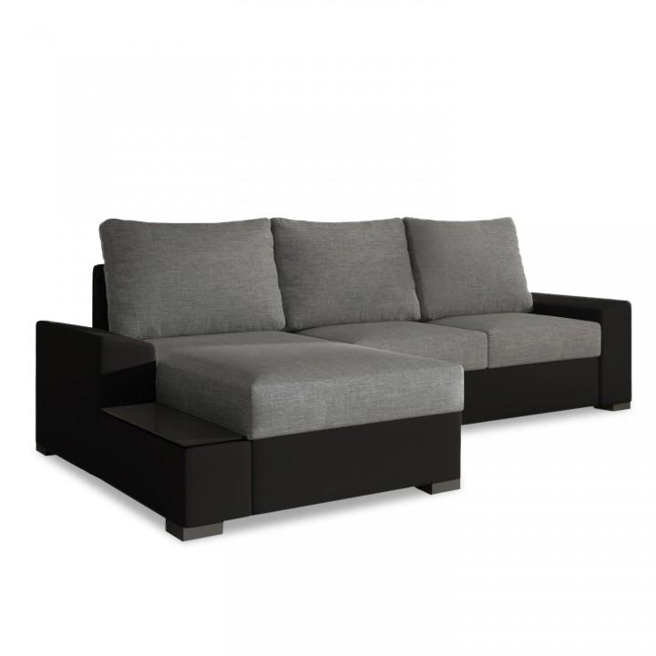 Canapé d'angle gauche convertible Gianni Gris et Noir