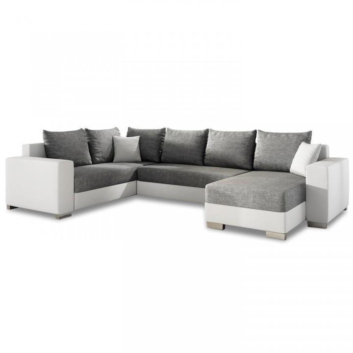 Canapé d'angle droit panoramique Octave Gris et Blanc