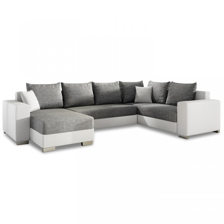 Canapé d'angle gauche panoramique Octave Gris et Blanc