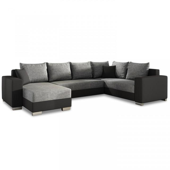 Canapé d'angle gauche panoramique Octave Gris et Noir