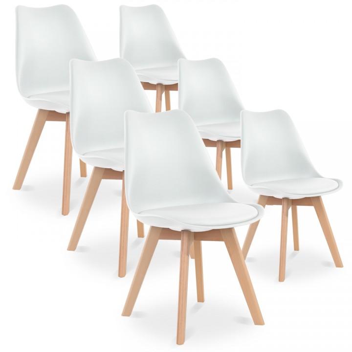 Lot de 6 chaises style scandinave Catherina Blanc