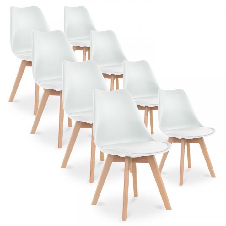 Lot de 8 chaises style scandinave Catherina Blanc