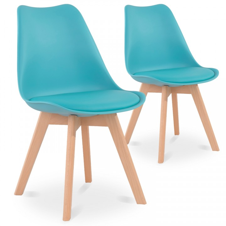 Lot de 2 chaises style scandinave Catherina Bleu Turquoise