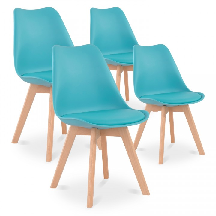 Lot de 4 chaises style scandinave Catherina Bleu Turquoise