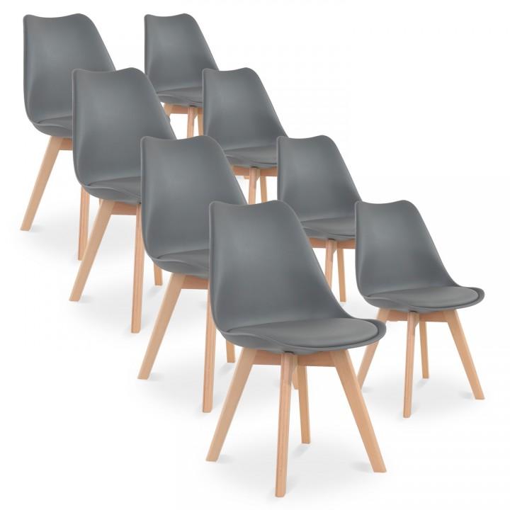 Lot de 8 chaises style scandinave Catherina Gris