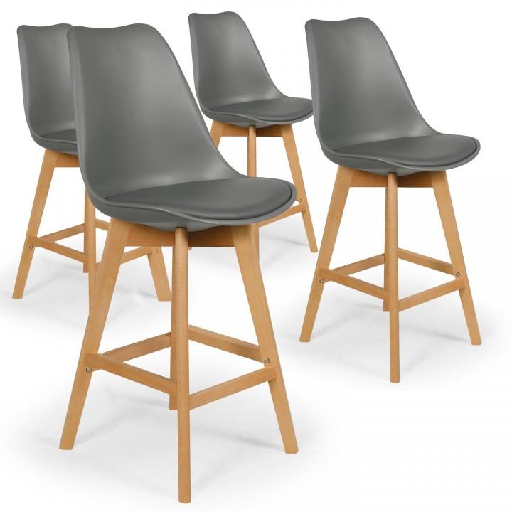 Lot de 4 chaises hautes style scandinave Catherina Gris - H65cm