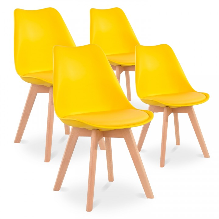 Lot de 4 chaises style scandinave Catherina Jaune