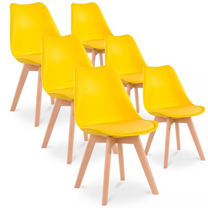Lot de 6 chaises style scandinave Catherina Jaune