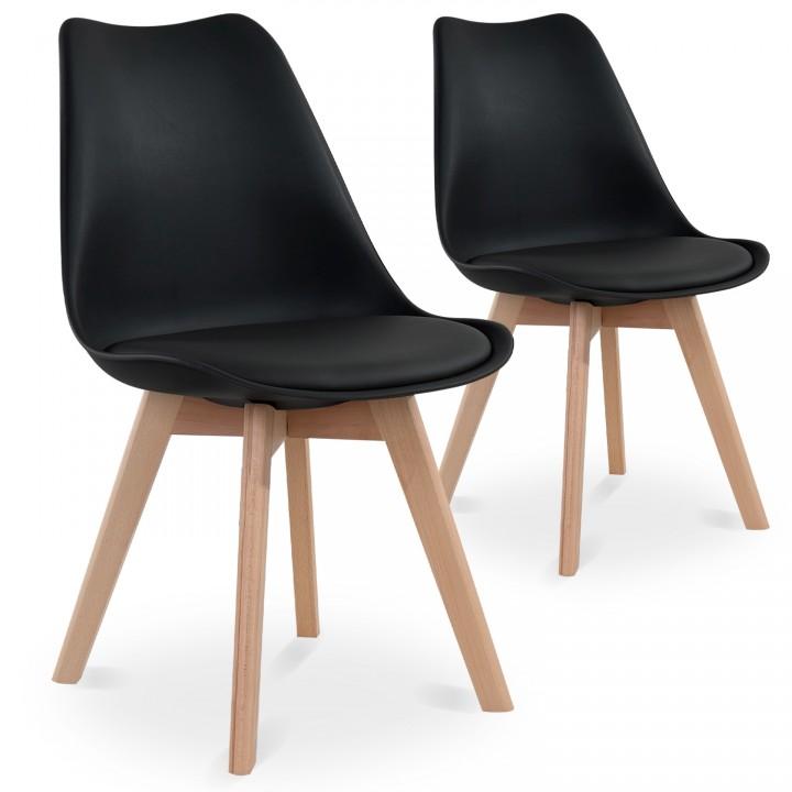 Lot de 2 chaises style scandinave Catherina Noir