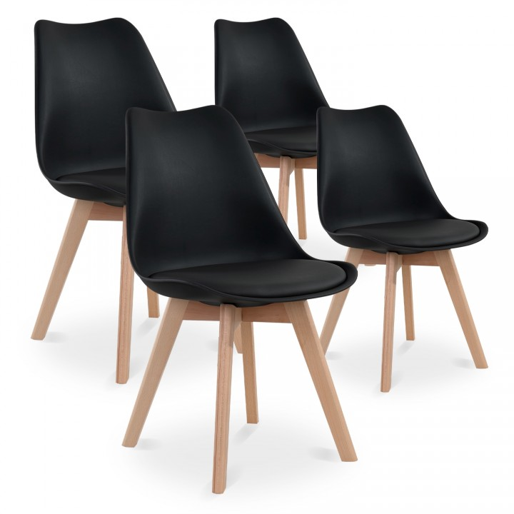 Lot de 4 chaises style scandinave Catherina Noir