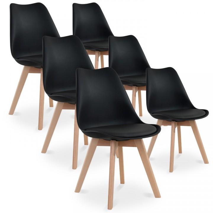 Lot de 6 chaises style scandinave Catherina Noir