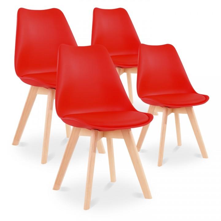 Lot de 4 chaises style scandinave Catherina Rouge