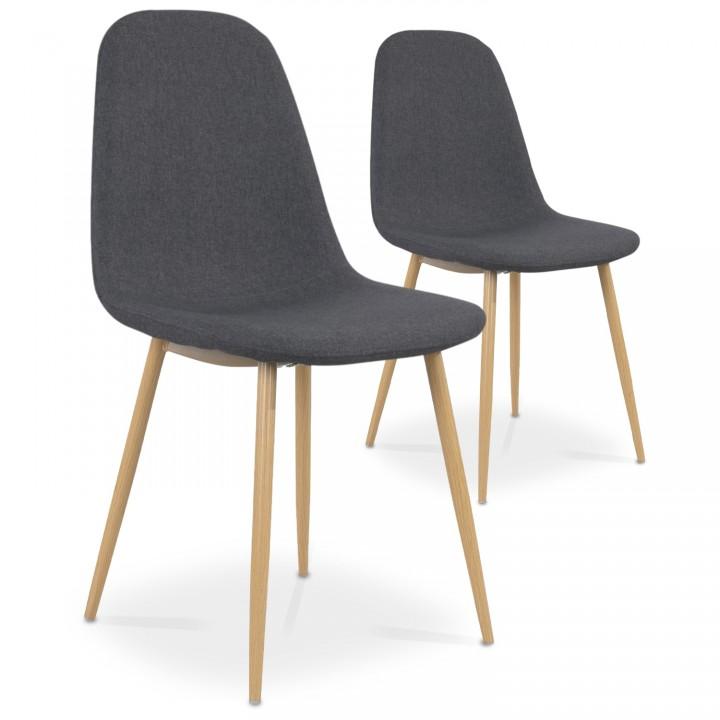 Lot de 2 chaises scandinaves Bali tissu Gris