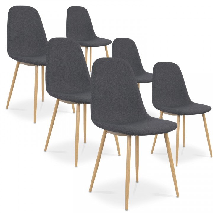 Lot de 6 chaises scandinaves Bali tissu Gris