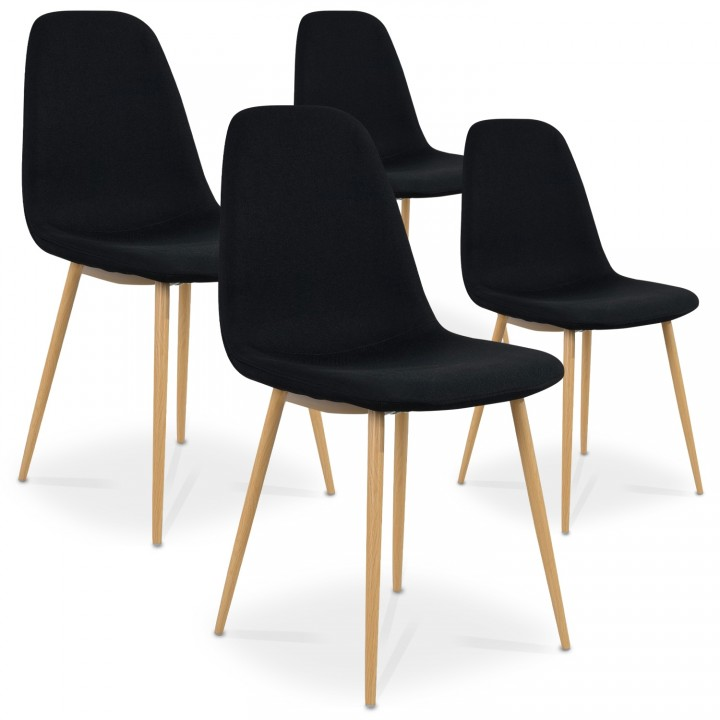 Lot de 4 chaises scandinaves Bali tissu Noir