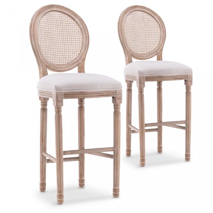 Lot de 2 chaises de bar médaillon Louis XVI cannage rotin tissu Beige