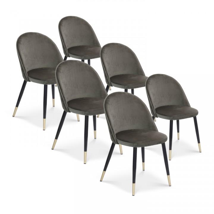 Lot de 6 chaises Bertille en velours gris pieds noir et or