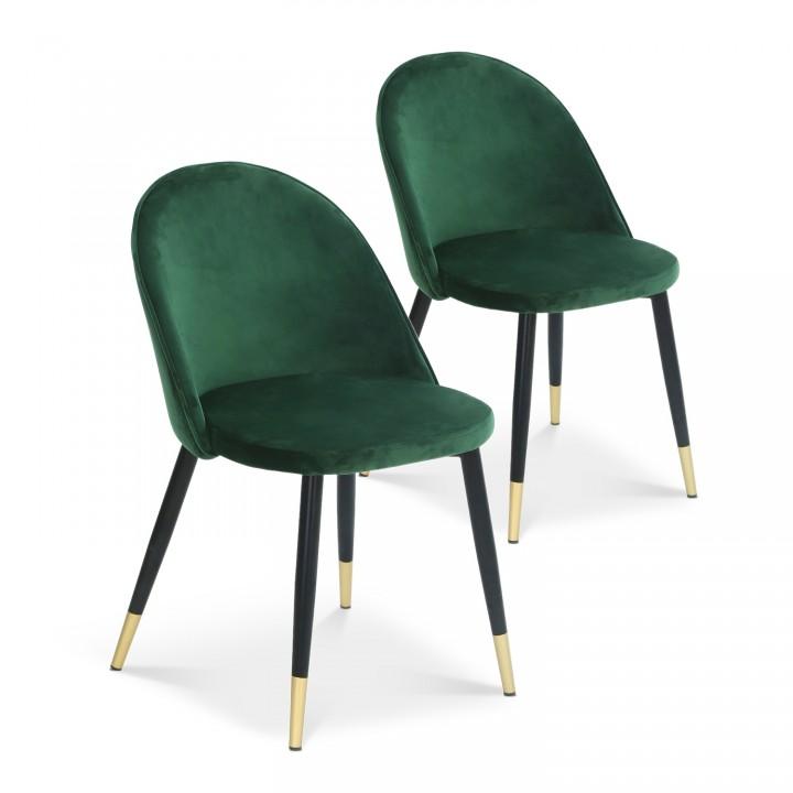 Lot de 2 chaises Bertille en velours vert pieds noir et or