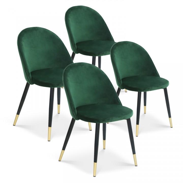 Lot de 4 chaises Bertille en velours vert pieds noir et or