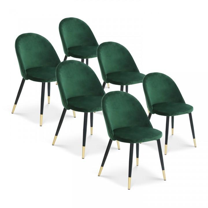 Lot de 6 chaises Bertille en velours vert pieds noir et or