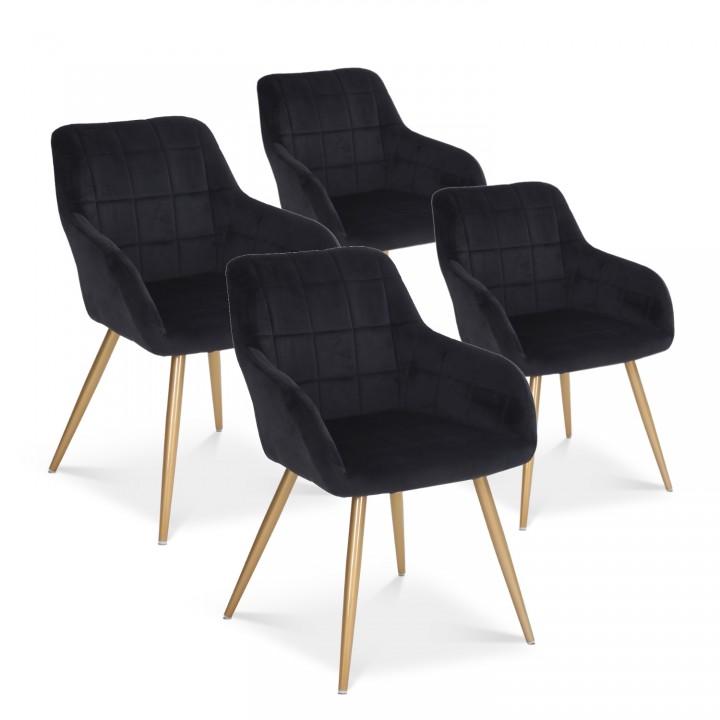 Lot de 4 chaises Noémie en velours noir pieds or