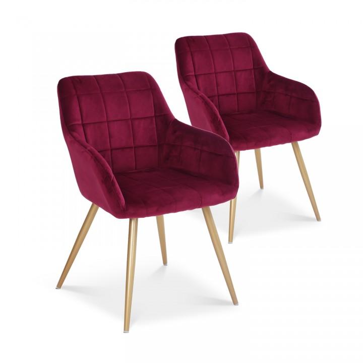 Lot de 2 chaises Noémie en velours rouge pieds or