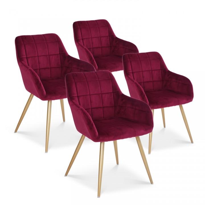 Lot de 4 chaises Noémie en velours rouge pieds or