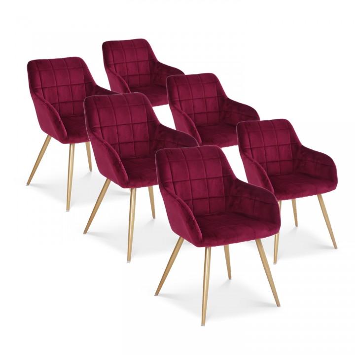 Lot de 6 chaises Noémie en velours rouge pieds or