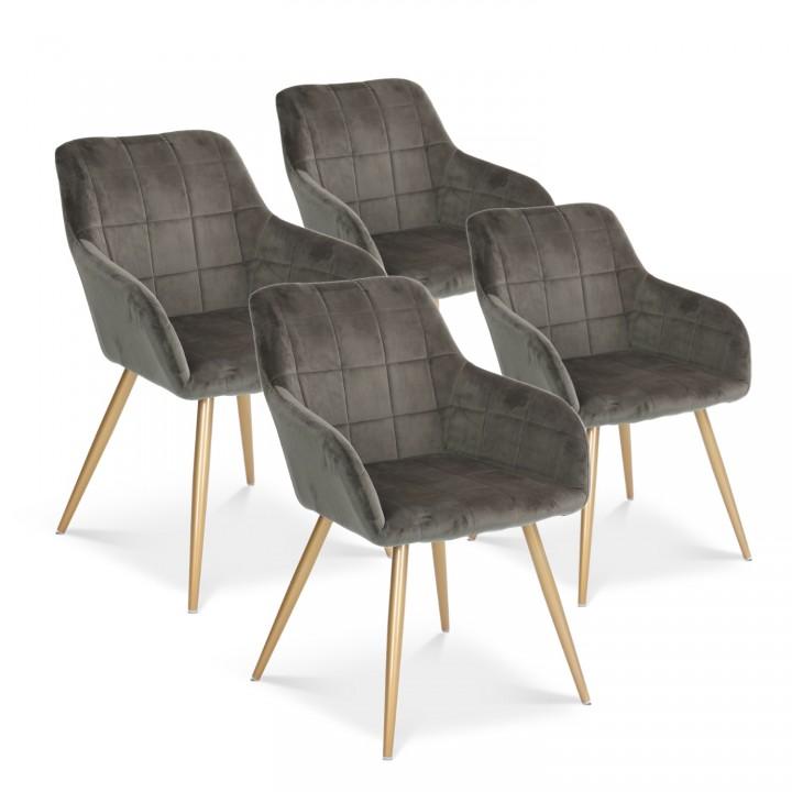 Lot de 4 chaises Noémie en velours gris pieds or