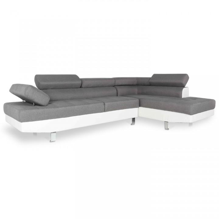 Canapé d'angle droit avec têtières relevables Charly Gris et Blanc