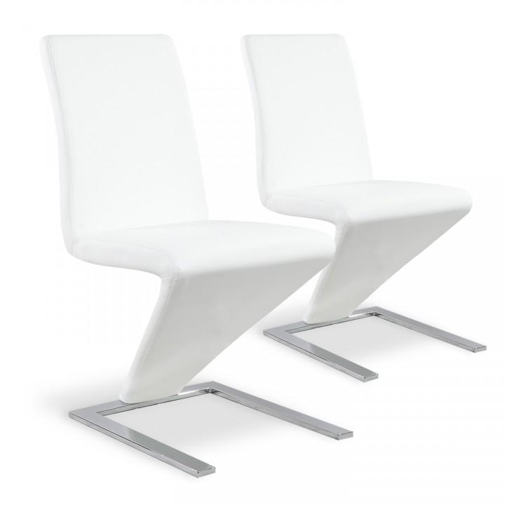 Lot de 2 chaises design Delano Blanc