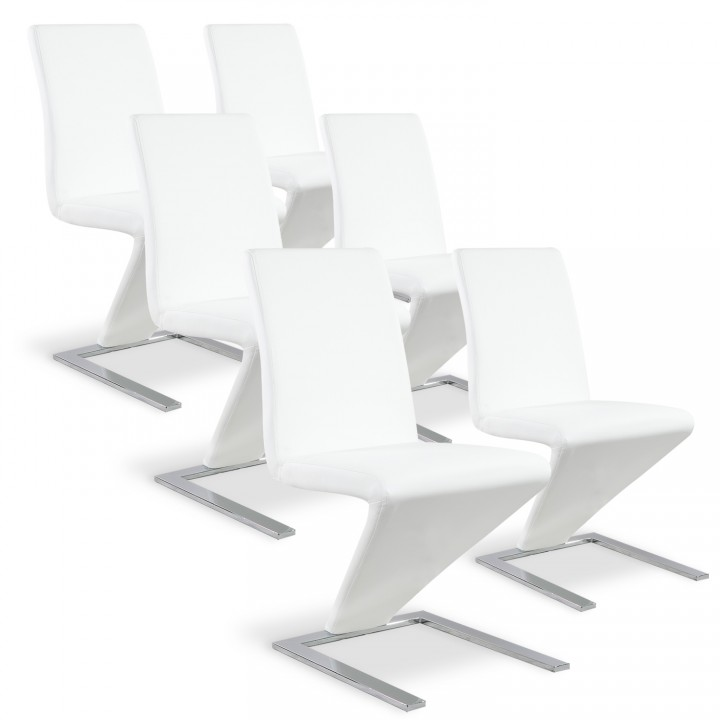 Lot de 6 chaises design Delano Blanc