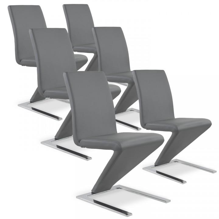 Lot de 6 chaises design Delano Gris