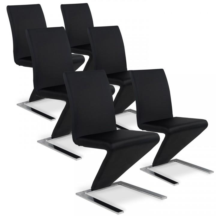 Lot de 6 chaises design Delano Noir