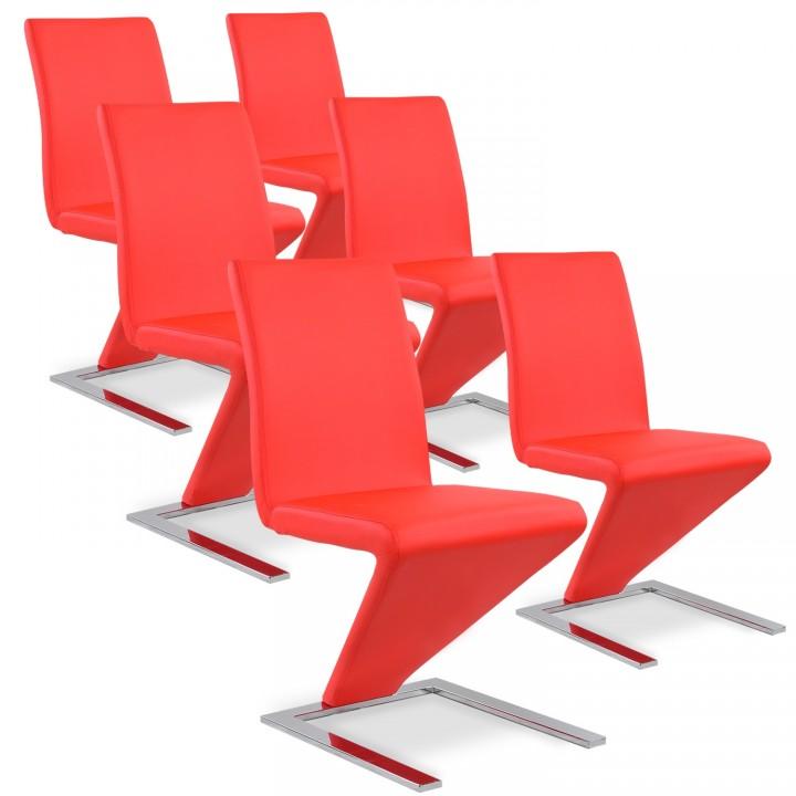 Lot de 6 chaises design Delano Rouge
