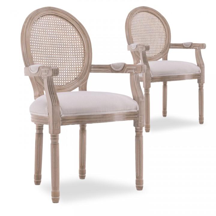 Lot de 2 fauteuils médaillon Louis XVI cannage rotin tissu beige