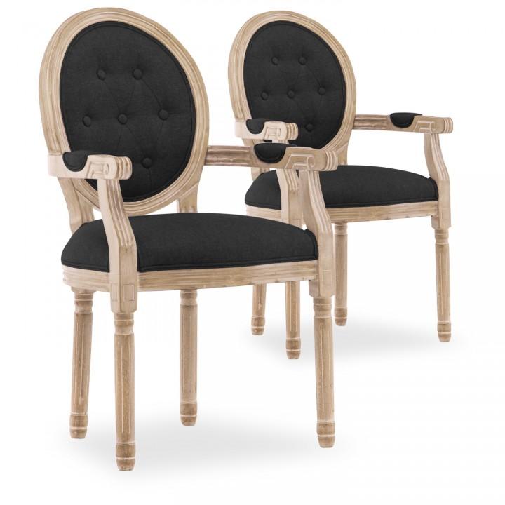 Lot de 2 fauteuils médaillon capitonnés Louis XVI tissu Noir