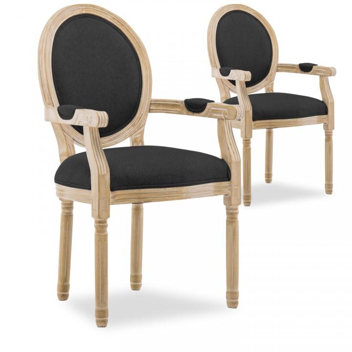 Lot de 2 fauteuils médaillon Louis XVI tissu Noir