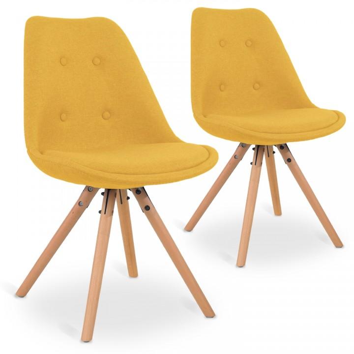 Lot de 2 chaises scandinaves Frida tissu Jaune