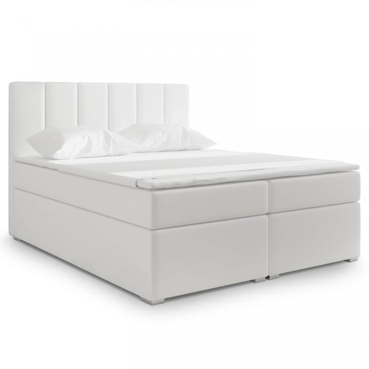 Lit coffre + matelas Luxury 160cm Blanc