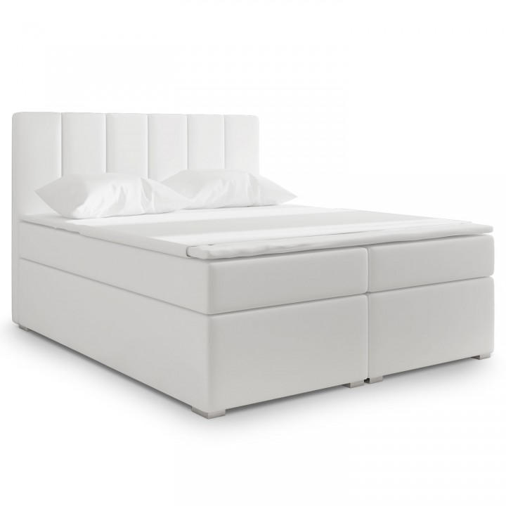 Lit coffre + matelas Luxury 180cm Blanc
